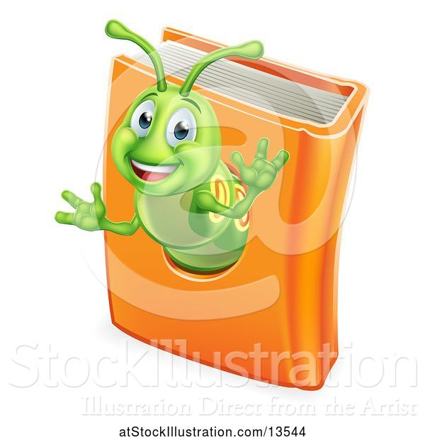 Vector Illustration of Happy Cartoon Green Worm Emerging from a Book