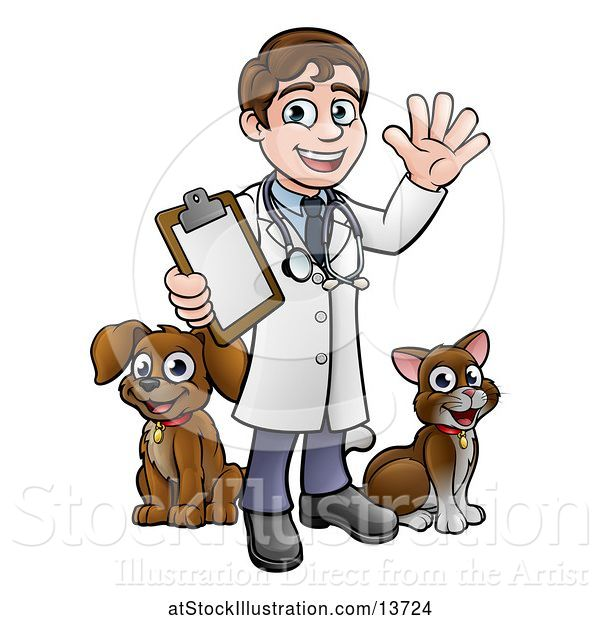 Vector Illustration of Happy Cartoon May Veterinarian Waving and Holding a Clipboard, with a Dog and Cat