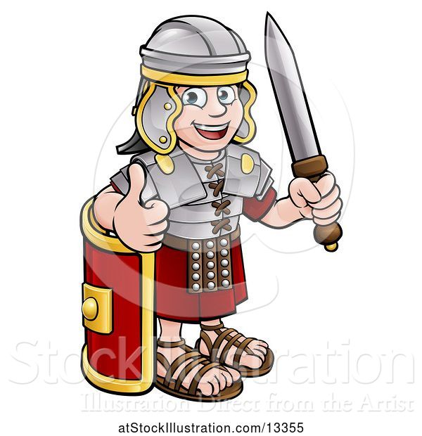 Vector Illustration of Happy Cartoon Roman Soldier Giving a Thumb Up, Holding a Sword and Leaning on a Shield