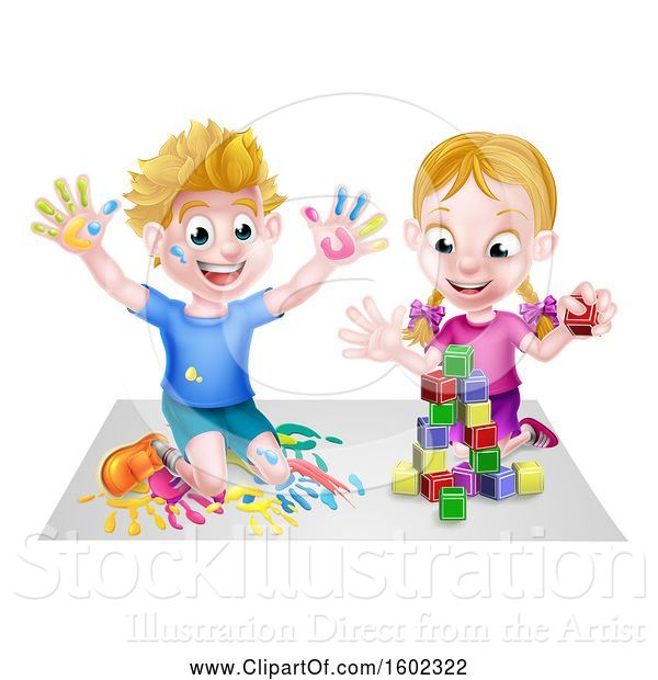 Vector Illustration of Happy Cartoon White Boy Kneeling and Hand Painting Artwork and Girl Playing with Toy Blocks