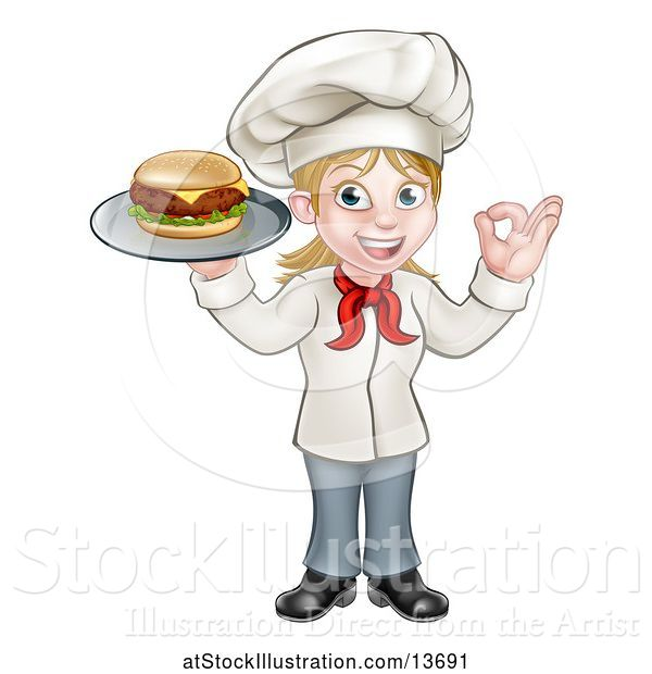 Vector Illustration of Happy Cartoon White Female Chef Gesturing Ok and Holding a Cheese Burger on a Tray