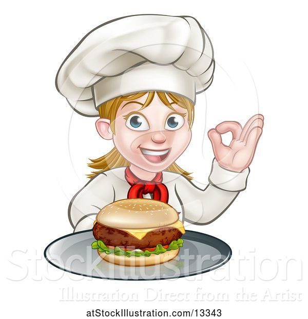 Vector Illustration of Happy Cartoon White Female Chef Gesturing Perfect and Holding a Cheese Burger on a Tray