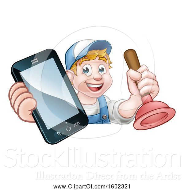 Vector Illustration of Happy Cartoon White Male Plumber Holding a Plunger and Cell Phone over a Sign
