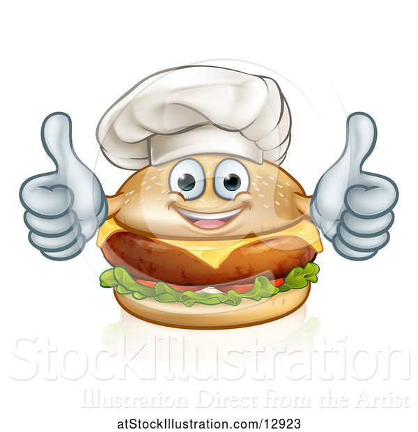 Vector Illustration of Happy Cheeseburger Chef Character Giving Two Thumbs up
