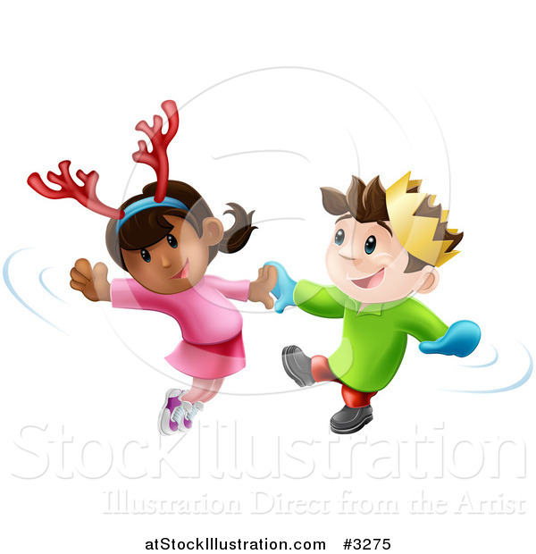 Vector Illustration of Happy Children Dancing to Christmas Music