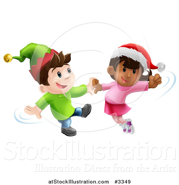 Vector Illustration of Happy Children Wearing Hats and Dancing to Christmas Music