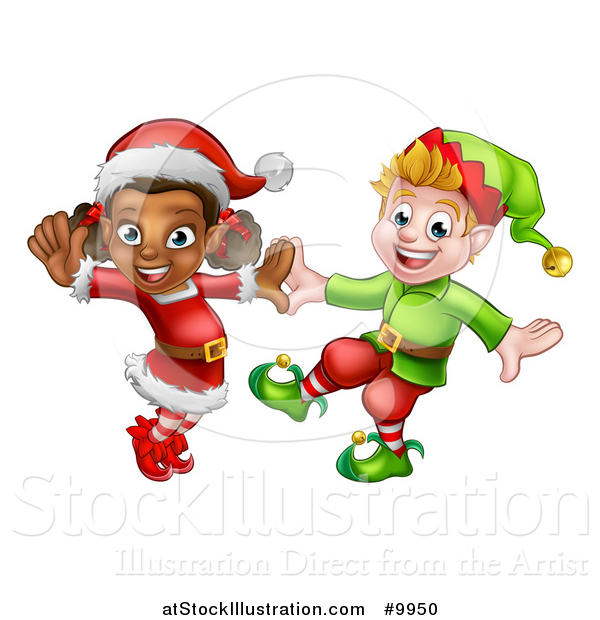 Vector Illustration of Happy Christmas Elves Dancing