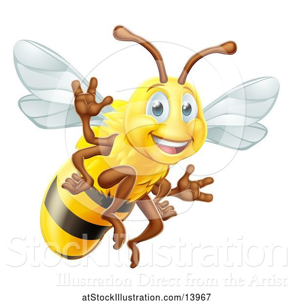 Vector Illustration of Happy Friendly Bee Mascot Waving