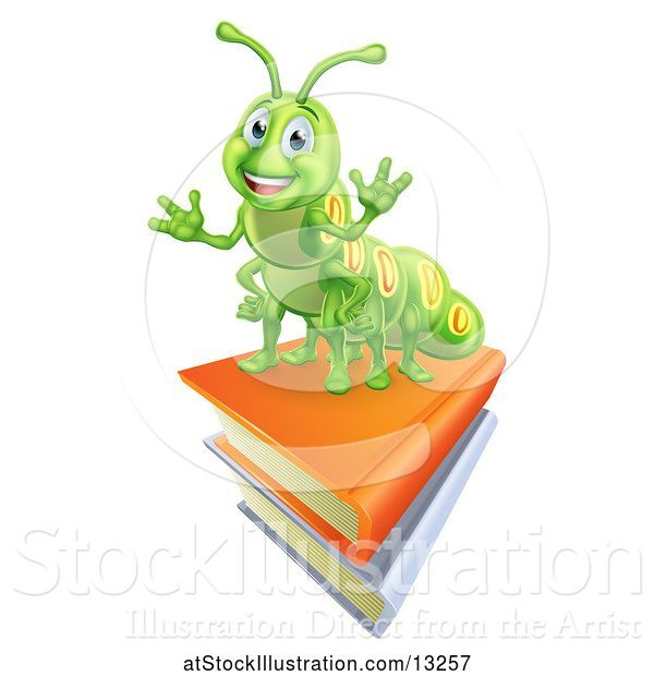 Vector Illustration of Happy Green Caterpillar on Books