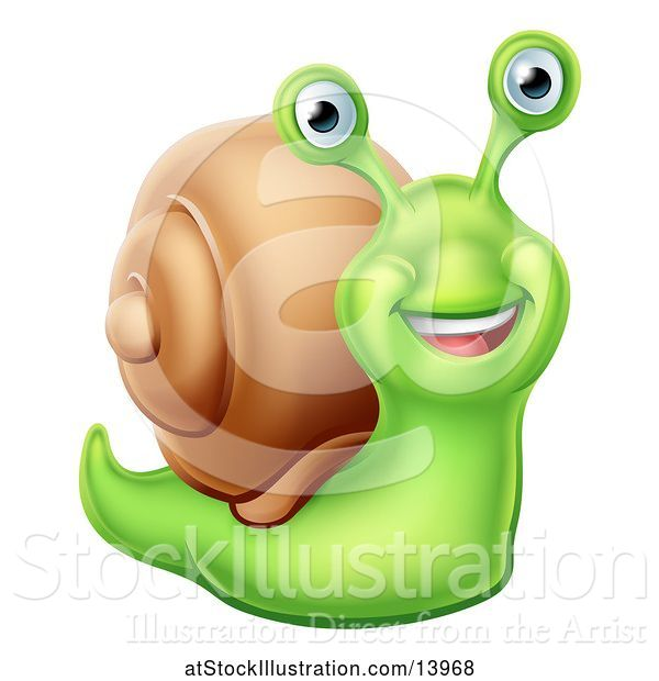 Vector Illustration of Happy Green Snail