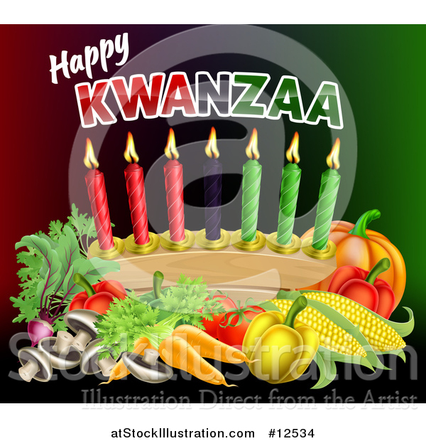 Vector Illustration of Happy Kwanzaa Greeting with Vegetables and Candles