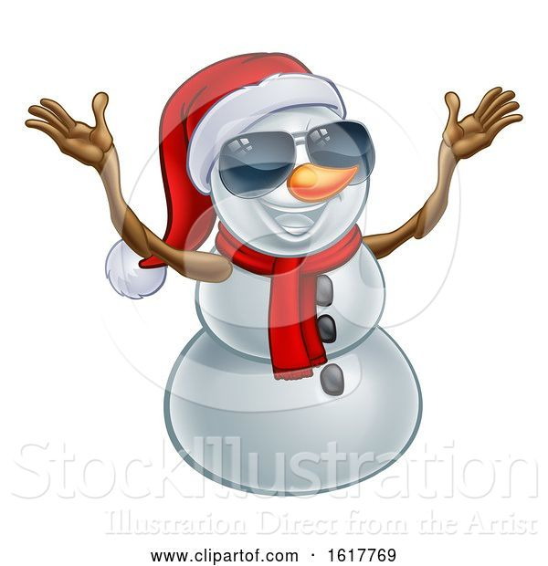 Vector Illustration of Happy Snowman Wearing a Santa Hat and Sunglasses