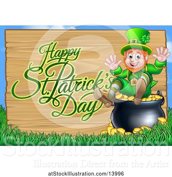 Vector Illustration of Happy St Patricks Day Greeting on a Wood Sign by a Leprechaun Sitting on a Pot of Gold