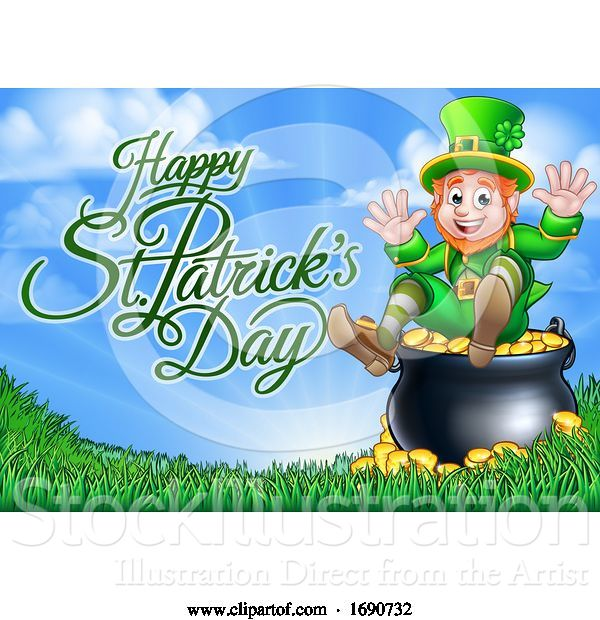 Vector Illustration of Happy St Patricks Day Greeting with a Leprechaun at the End of the Rainbow