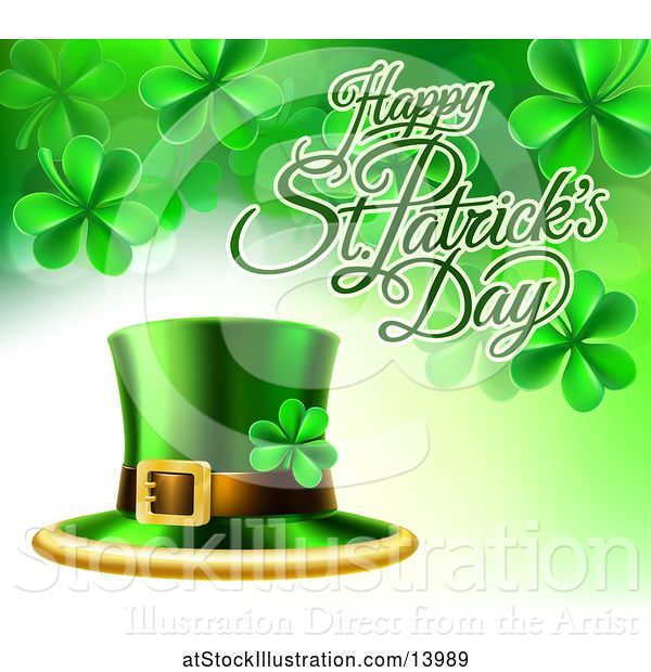 Vector Illustration of Happy St Patricks Day Greeting with a Leprechaun Hat and Shamrocks