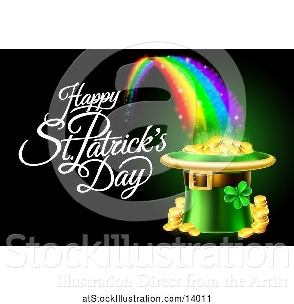 Vector Illustration of Happy St Patricks Day Greeting with a Leprechaun Hat Full of Gold Coins at the End of a Rainbow, on Black