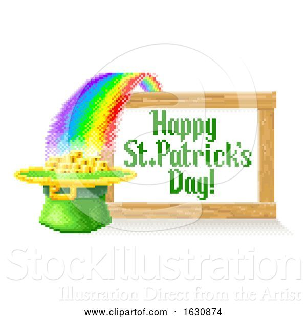 Vector Illustration of Happy St Patricks Day Pixel Art Sign