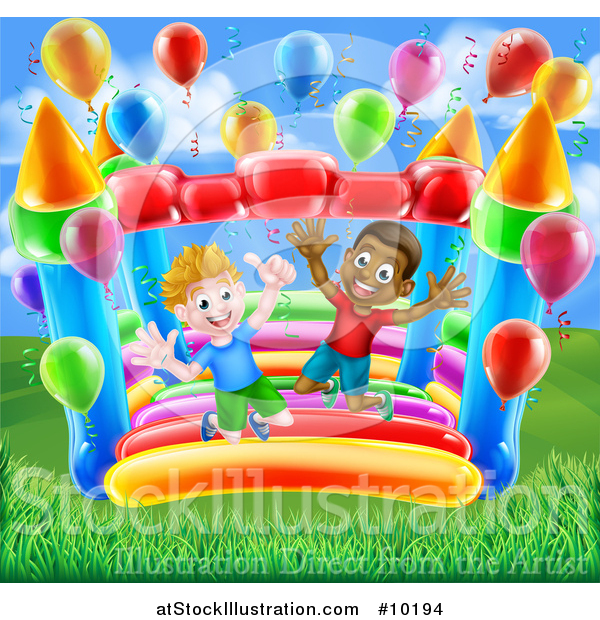 Vector Illustration of Happy White and Black Boys Jumping on a Bouncy House Castle