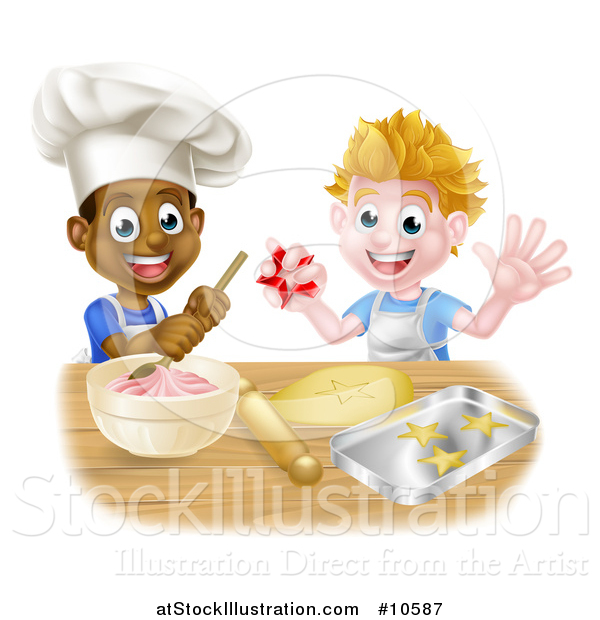 Vector Illustration of Happy White and Black Boys Making Frosting and Cookies