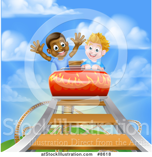 Vector Illustration of Happy White and Black Boys on a Roller Coaster Ride, Against a Blue Sky with Clouds