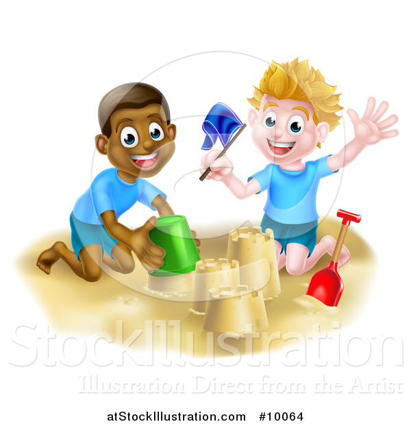 Vector Illustration of Happy White and Black Boys Playing and Making a Sand Castle on a Beach