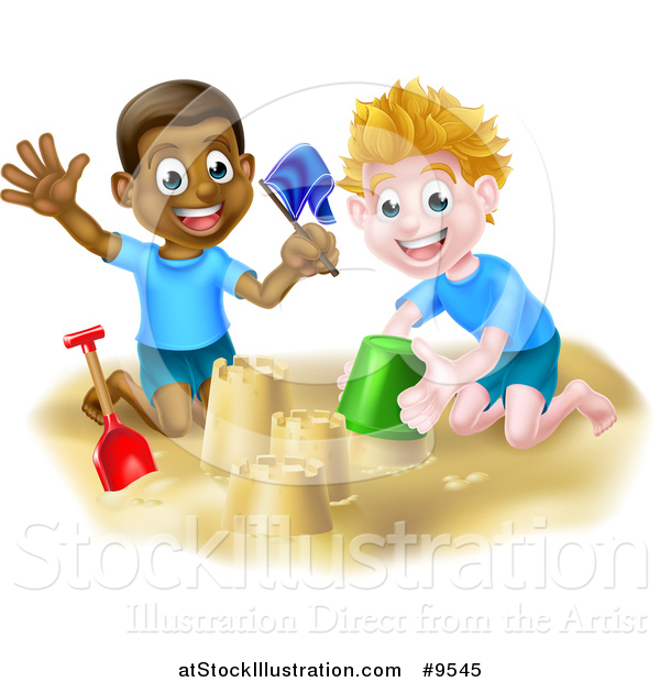 Vector Illustration of Happy White and Black Boys Playing and Making Sand Castles on a Beach