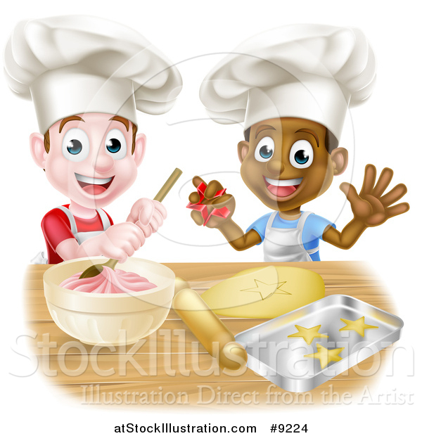 Vector Illustration of Happy White and Black Boys Wearing Toque Hats Making Frosting and Cookies