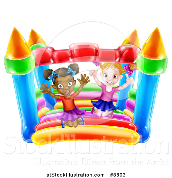Vector Illustration of Happy White and Black Girls Jumping on a Bouncy House Castle