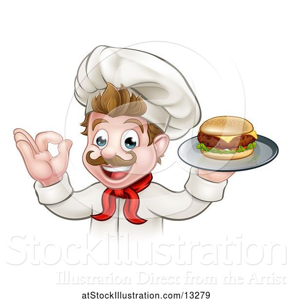 Vector Illustration of Happy White Male Chef Gesturing Ok and Holding a Cheeseburger on a Tray