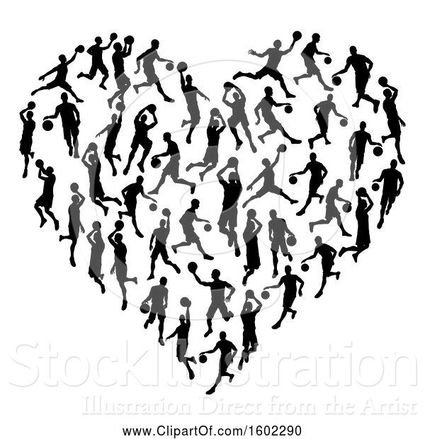 Vector Illustration of Heart Made of Black Silhouetted Basketball Players