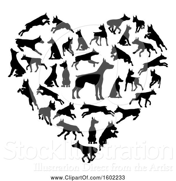 Vector Illustration of Heart Made of Black Silhouetted Dobermann Dogs