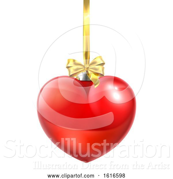 Vector Illustration of Heart Shaped Christmas Ball Bauble Ornament