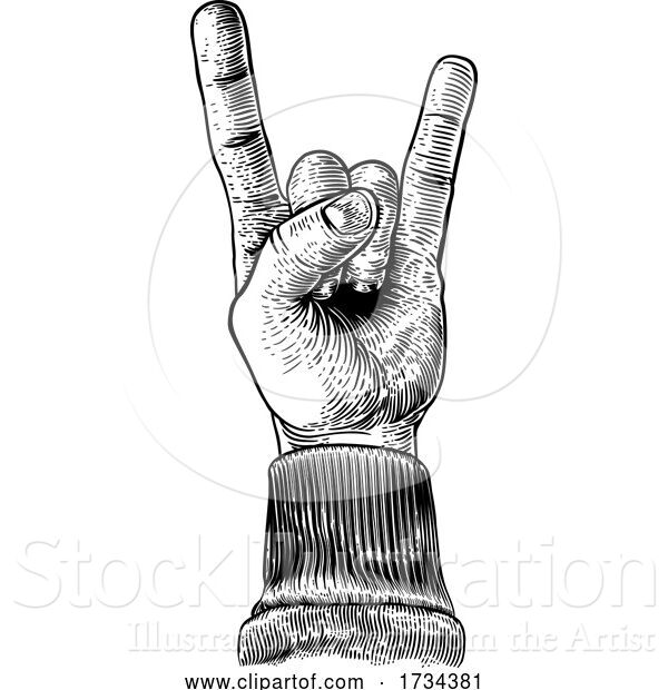 Vector Illustration of Heavy Metal Rock Music Hand Sign Gesture