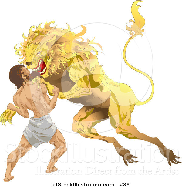 Vector Illustration of Hercules Wrestling Nemean Lion During His First Task