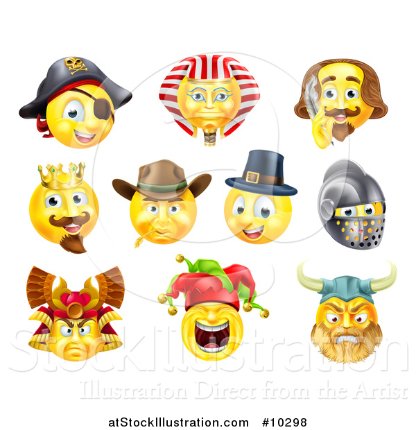 Vector Illustration of Historical Themed Emoji Yellow Smiley Face Emoticons