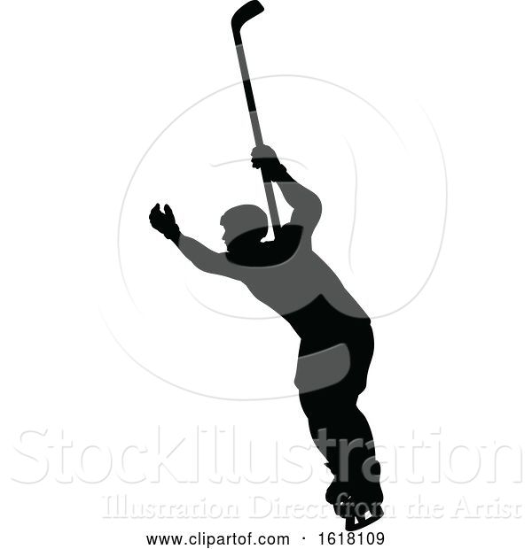 Vector Illustration of Hockey Player Sports Silhouettes