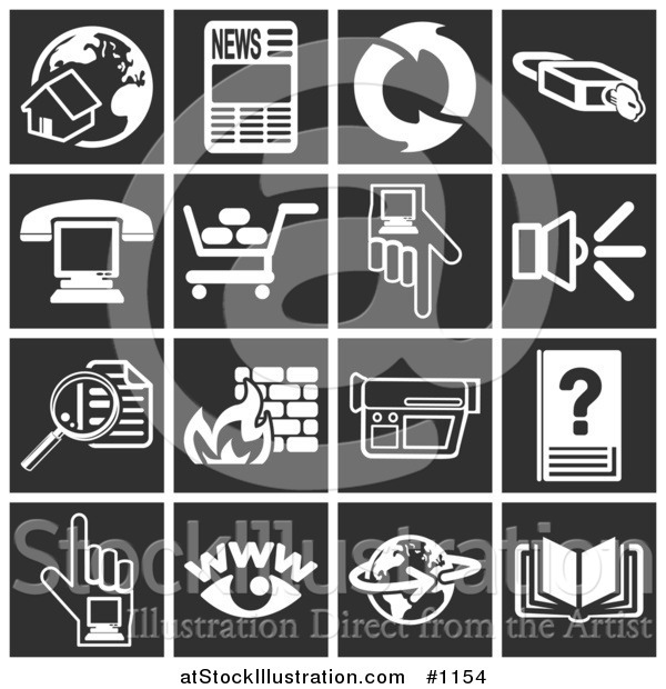 Vector Illustration of Home and Globe, Newspaper, Refresh Arrows, Padlock, Phone over a Computer, Shopping Cart, Hand Pointing, Speaker, Magnifying Glass, Fire, Video Camera, Www, Globe, Book - Flat White Icons over Black Squares