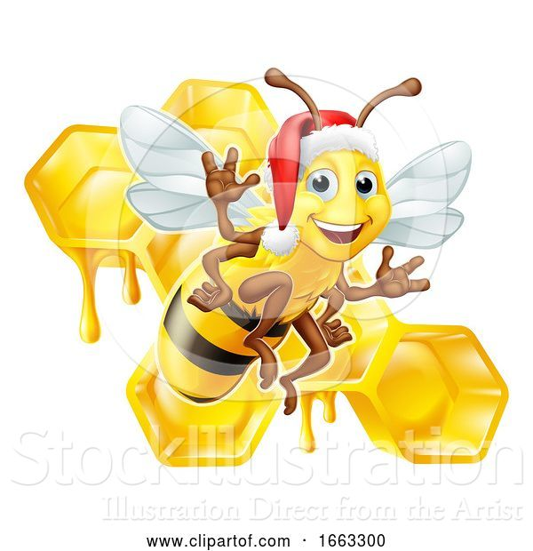 Vector Illustration of Honey Bumble Bee in Santa Christmas Hat