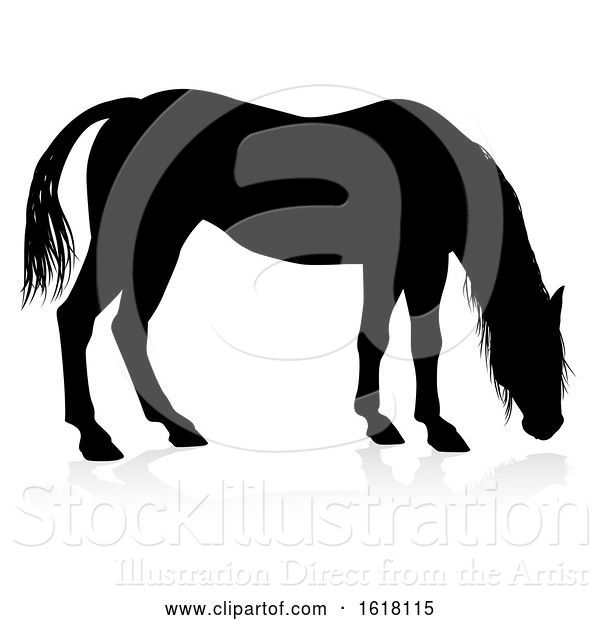 Vector Illustration of Horse Animal Silhouette, on a White Background