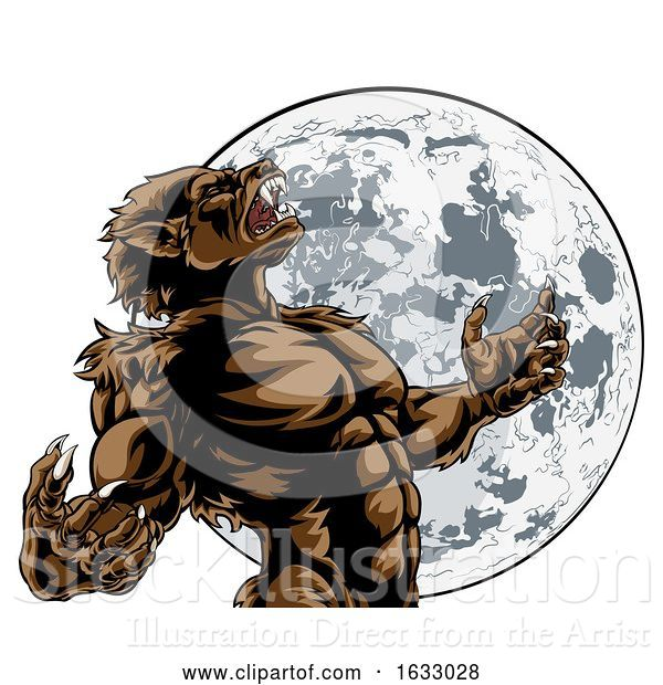 Vector Illustration of Howling Full Moon Werewolf Monster