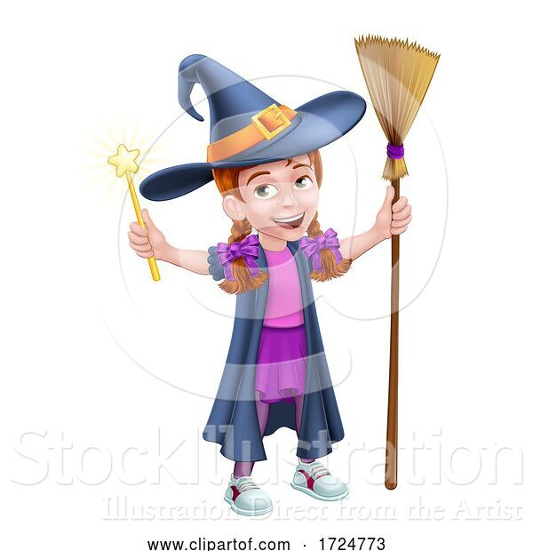 Vector Illustration of Kid Girl Child in Witch Halloween Costume
