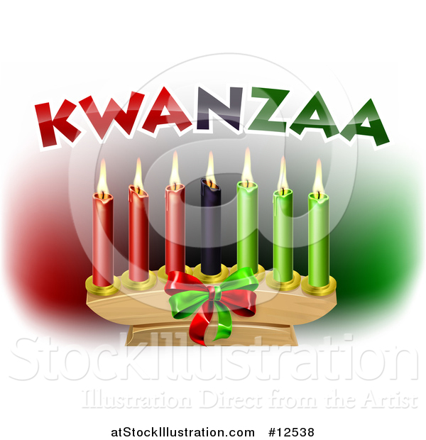 Vector Illustration of Kwanzaa Candles and Text