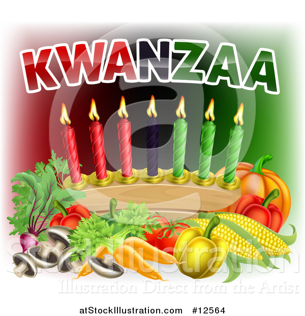Vector Illustration of Kwanzaa Text with Vegetables and Candles