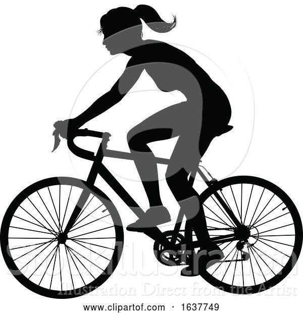 Vector Illustration of Lady Bike Cyclist Riding Bicycle Silhouette