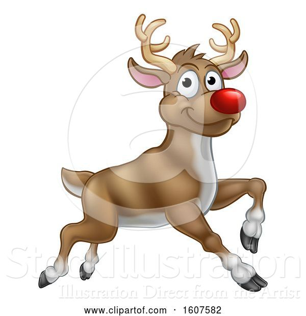 Vector Illustration of Leaping Red Nosed Reindeer
