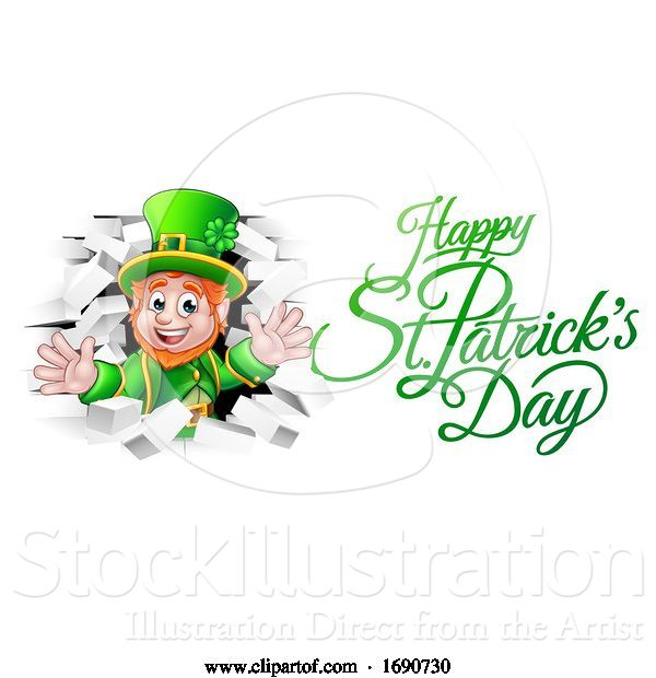 Vector Illustration of Leprechaun and Happy St Patricks Day Greeting
