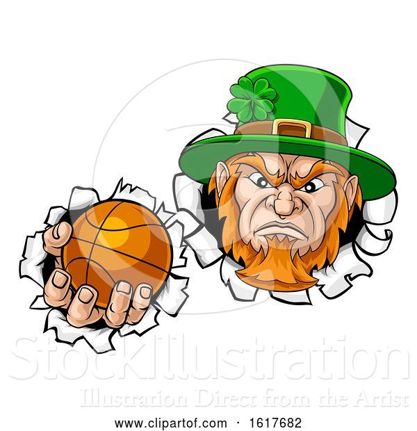 Vector Illustration of Leprechaun Basketball Mascot Ripping Background