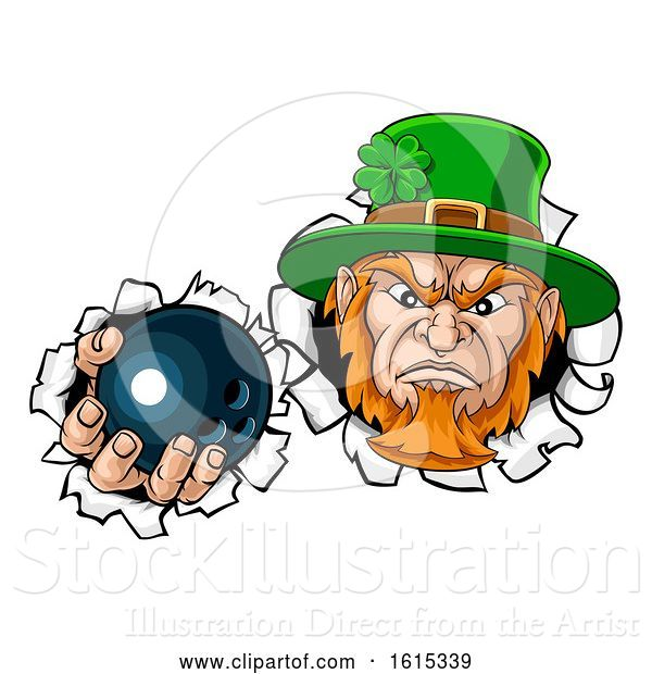 Vector Illustration of Leprechaun Bowling Mascot Ripping Background