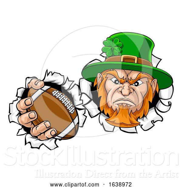 Vector Illustration of Leprechaun Football Mascot Ripping Background