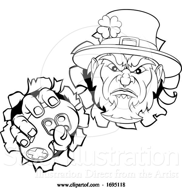 Vector Illustration of Leprechaun Gamer Mascot and Video Games Controller